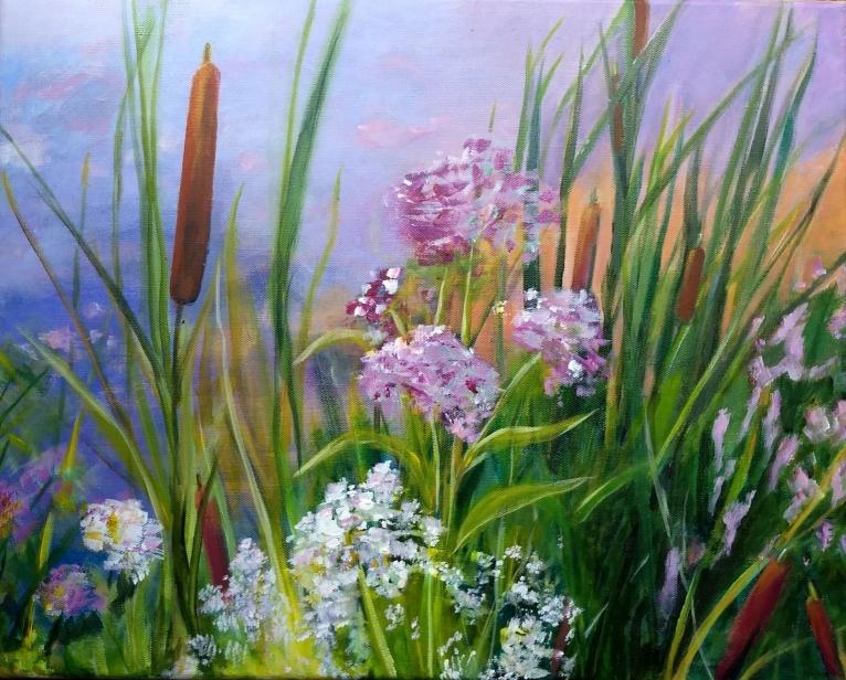 Midsummer Marsh, acrylic by Sylvia Mallory